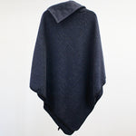Button Neck Felted Poncho - Navy