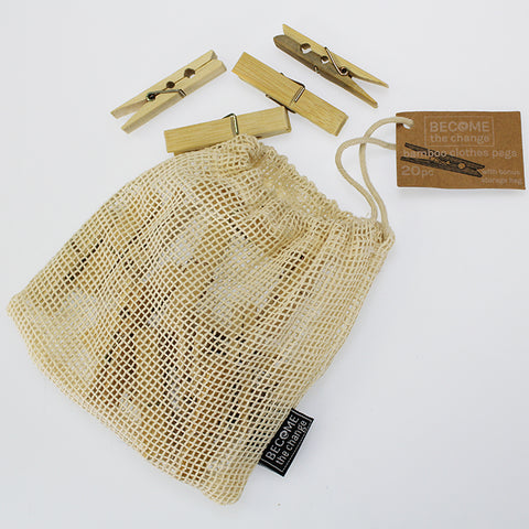 20 Bamboo Clothes Pegs in a Bag