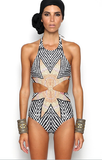 Multicolor Halter Maple Leaf Open Belly One-piece Swimsuit