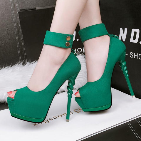Ankle Band Wrap Peep Toe Platform Stiletto High Heels