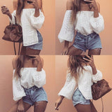 White Off Shoulder Long Sleeve Hollow out Blouse
