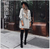 Fashion Loose Style Pure Color Long Sleeve Short Dress