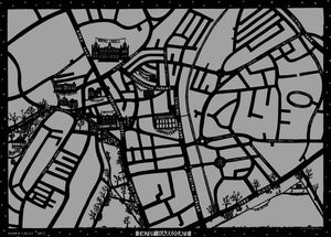 Enjoy Harrogate Map in dark and light grey, unframed open edition Giclée print