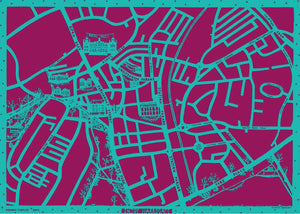 Enjoy Harrogate Map in purple and turquoise, unframed open edition Giclée print