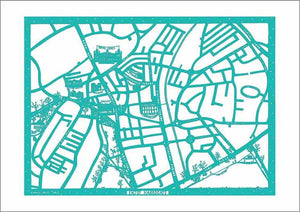 Enjoy Harrogate Map, unframed limited edition laser paper cut