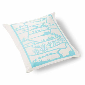 Love Yorkshire Velvet Cushion 46 x 46cm white with turquoise print