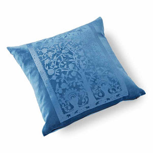 Paradise Velvet Cushion 46 x 46cm blue with blue print