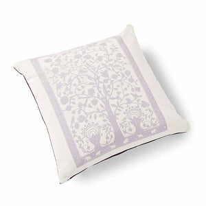 Paradise Velvet Cushion 46 x 46cm white with lilac print
