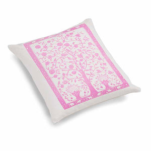 Paradise Velvet Cushion 46 x 46cm white velvet with pink print