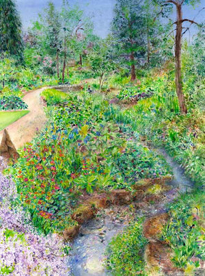Stream-side at RHS Garden Harlow Carr, June, original painting