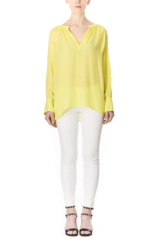 YELLOW SILK SOFIA BLOUSE, Blouses