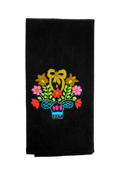 Puebla Embroidered Hand Towel - Black/Multi