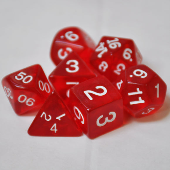 Koplow Games Red Transparent Polyhedral Die Set