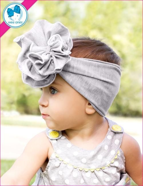 Wee Ones Large Fan Flower Cotton Headband