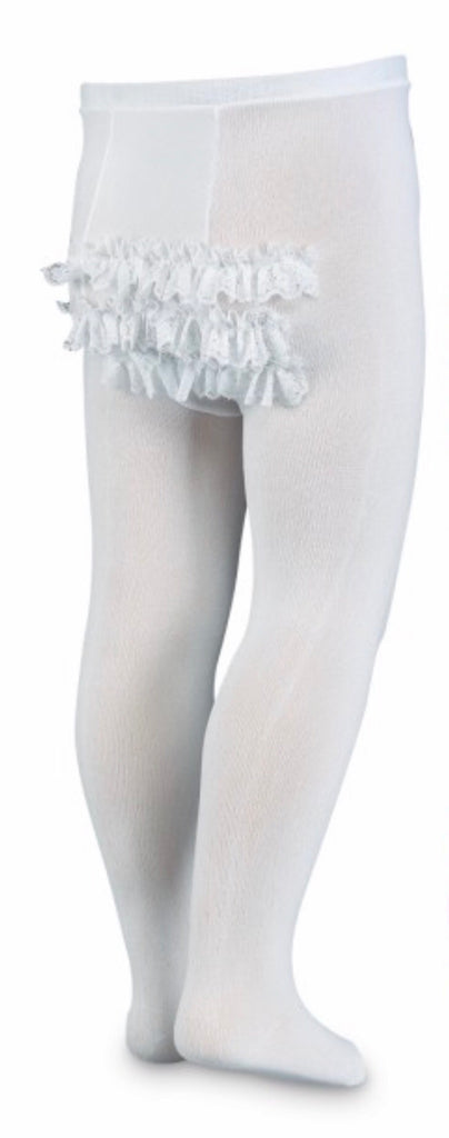 Jefferies Socks Tights with Lace Ruffle Bottom