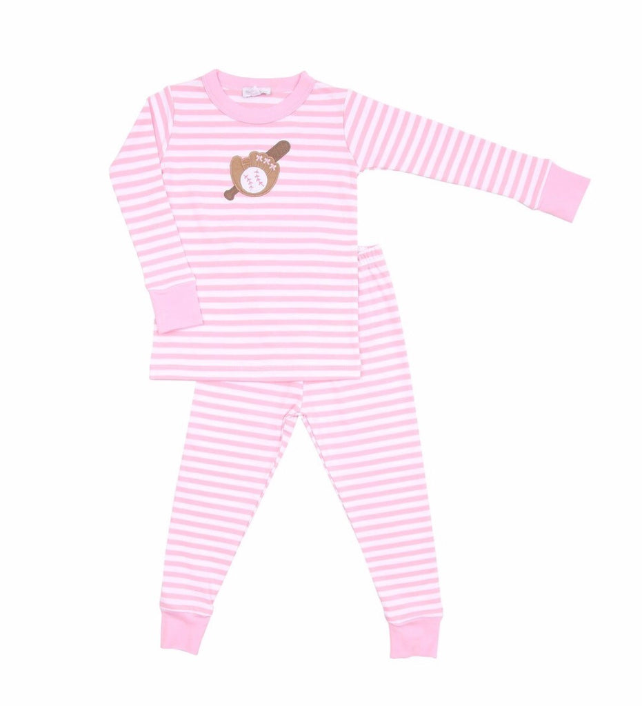 Magnolia Baby Baseball Appliqué Long Pajamas