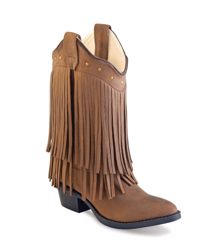 Old West Brown Fringe CCY8125 Cowboy Boots