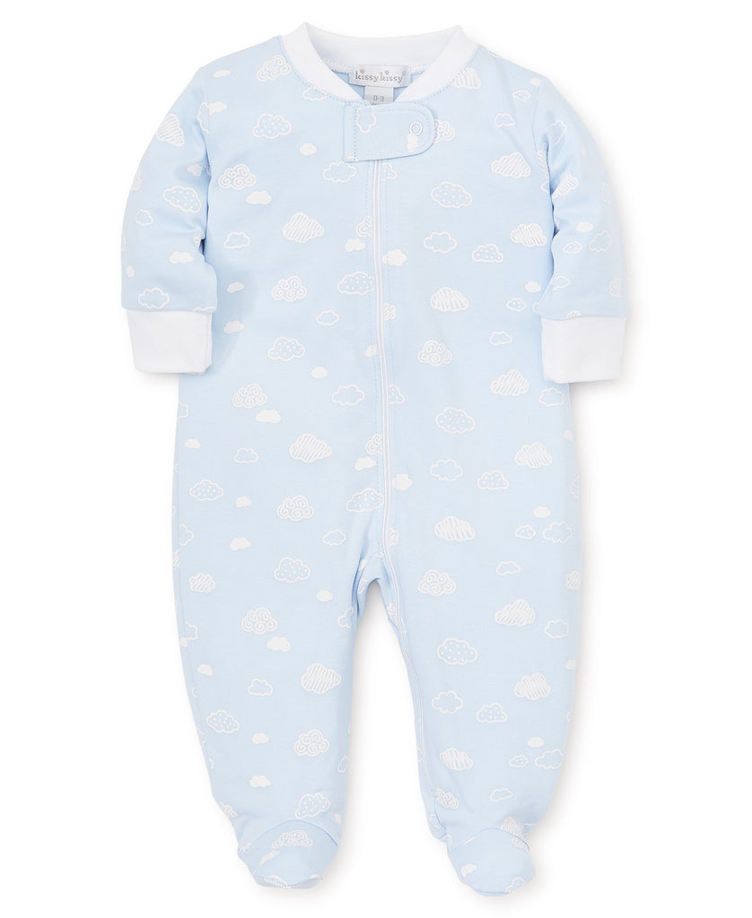 Kissy Kissy Cotton Clouds Footie with Zipper