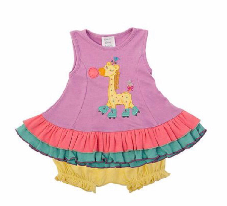 Lemon Loves Layette Lil Giraffe Roller Skate Dress Set