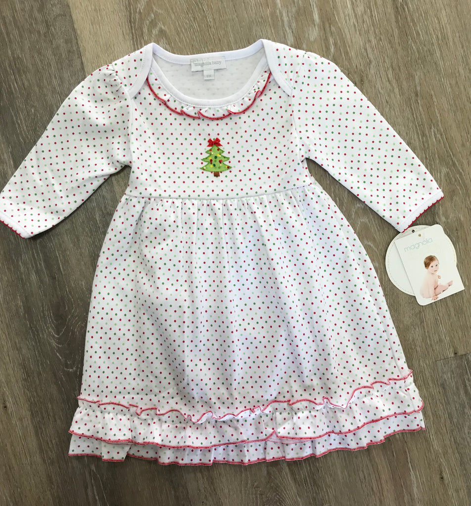 Magnolia Baby O Christmas Tree Dress with Bloomers