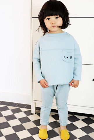 Jules 2-piece set soft cotton track suit, Blue
