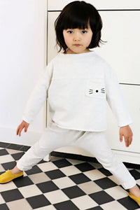 Jules 2-piece set soft cotton track suit, Cream