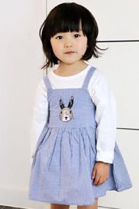 Rabbit print cotton pinafore dress, Blue