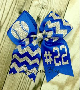 Baseball Bow with Number