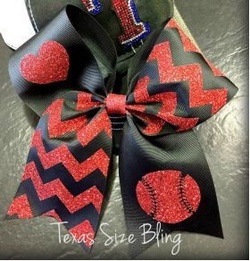 Baseball and Heart Hair Bow