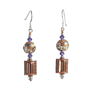 Japanese Decal, Swarovski Crystal, Copper and Sterling Silver Earrings - Gems from Paradise