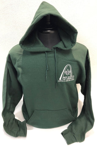 Hoodie - GSLAC Arch - Men's Hunter Green - Embroidered Logo