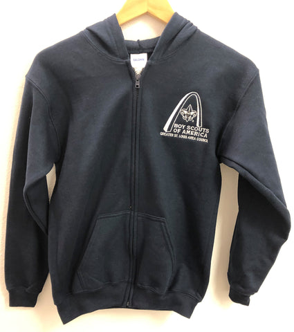 Full Zip Hoodie - GLSAC Arch - Youth Navy Blue - Embroidered Logo