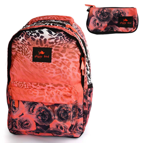 Glossy Bird Floral Backpack Red 17
