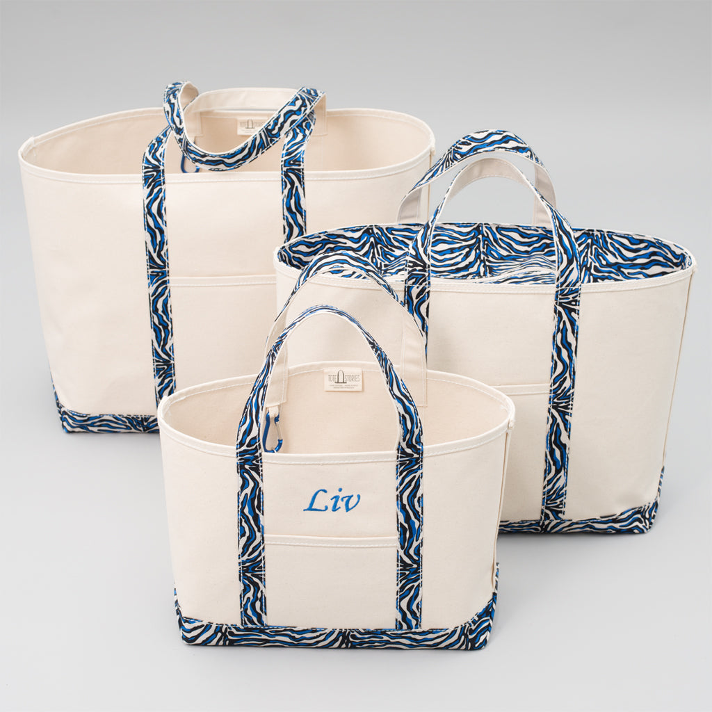 Limited Tote Bag - Zebra Chefchaouen Blue - Sizes