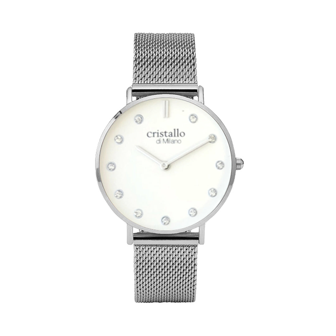 Little Pave White on Silver Mesh Strap with Sparkle