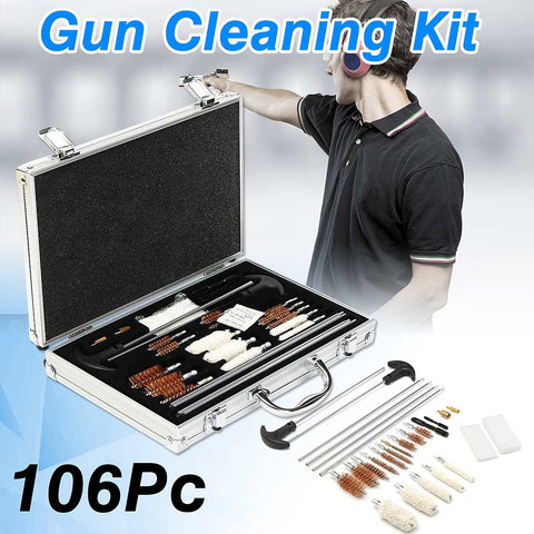 106Pcs Universal Gun- Cleaning Tool Kit Rifle Handgun Shotgun Cleaner Pistol Pipe Mop Brush Accessory with Carry Case
