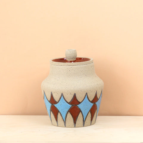 Glazed Stoneware Jar with Stardust Pattern