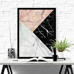 Real Marble Geometric Art Piece