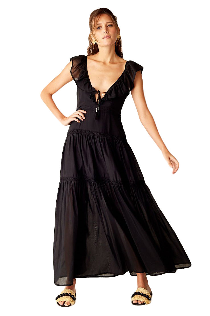 Suboo Salino Ruffled Maxi Dress in Black