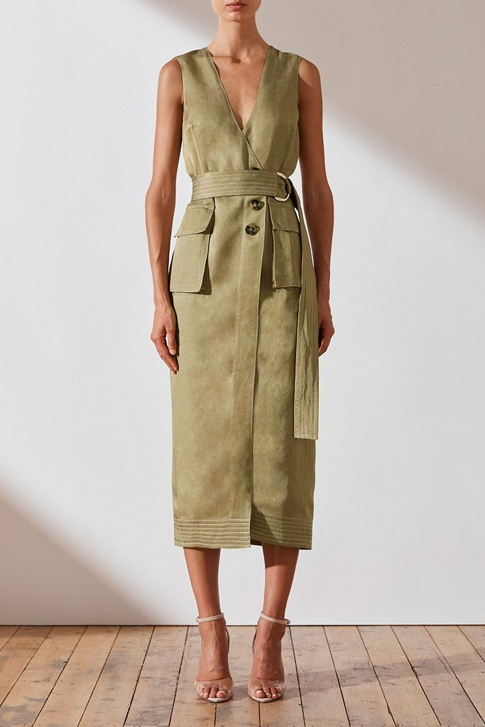 Shona Joy Ellington Linen Wrap Midi Dress in Olive