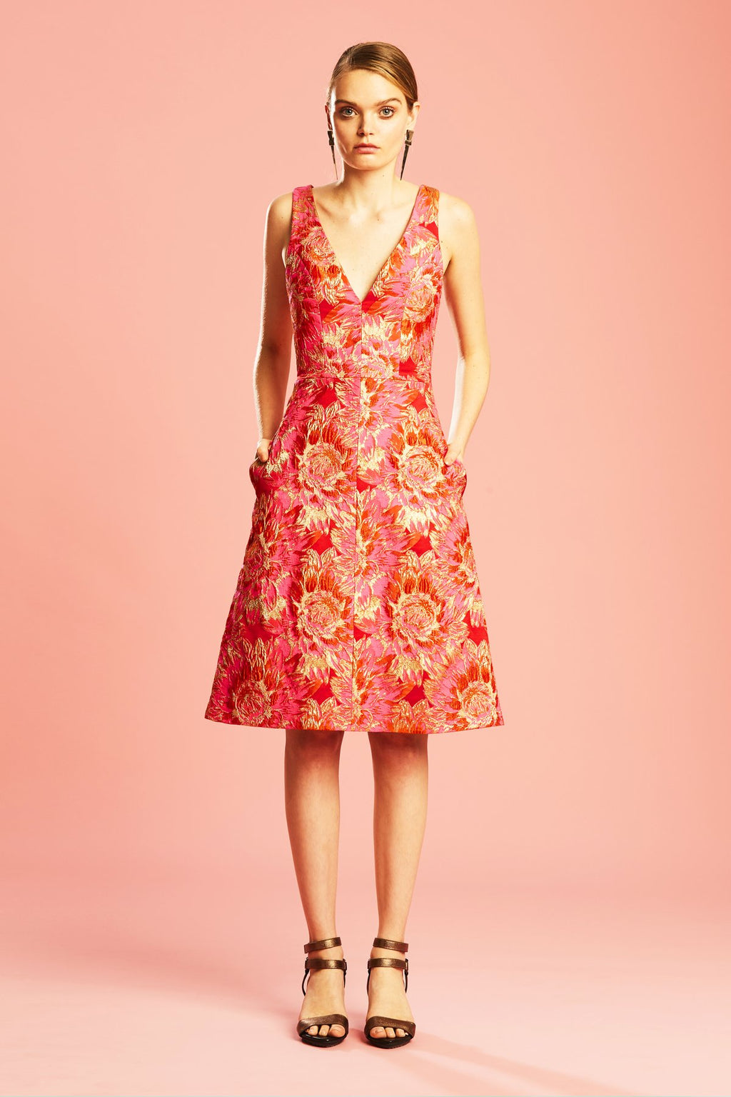 Ginger & Smart Florence Dress in Pink Gold