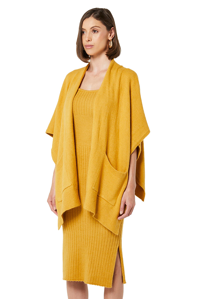 Elliatt Presto Knit Poncho in Ochre