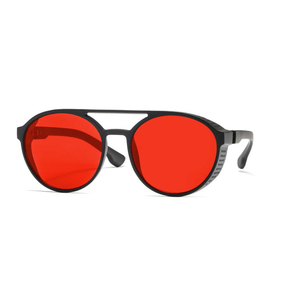 Aviator Round Steampunk Style Sunglasses - Red - Havana86
