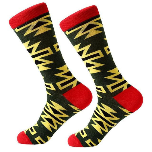 Funky Crew Socks - Yellow black Red Abstract - Havana86