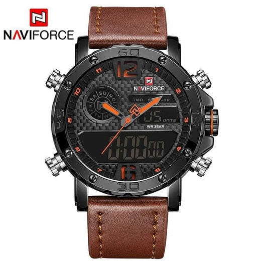 Men's Luxury Leather Quartz Sports Watch - Havana86