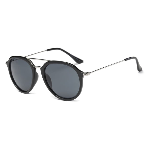 Retro Aviator Style Sunglasses - Black - Havana86