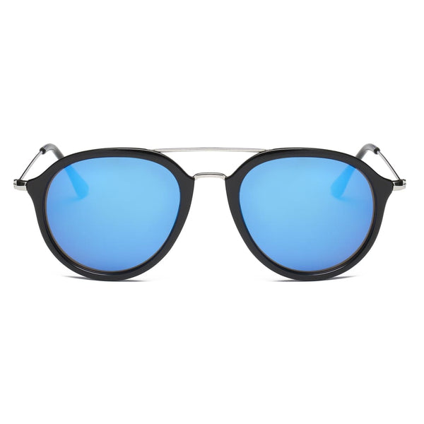 Retro Aviator Style Sunglasses - Blue - Havana86