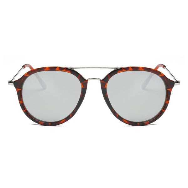 Retro Aviator Style Sunglasses - Grey - Havana86