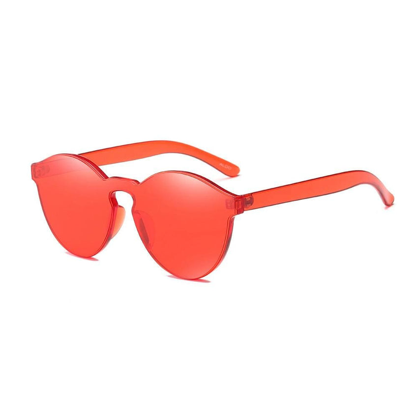 Retro Candy Colored Cat Eye Sunglasses - Red - Havana86