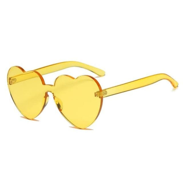 Retro Love Heart Rimless Sunglasses - Havana86
